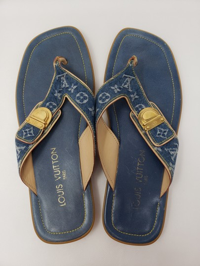 Louis Vuitton Gold Hardware Lv Monogram Idylle Logo Blue Sandals Image 6