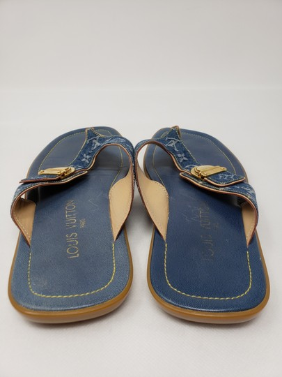 Louis Vuitton Gold Hardware Lv Monogram Idylle Logo Blue Sandals Image 7