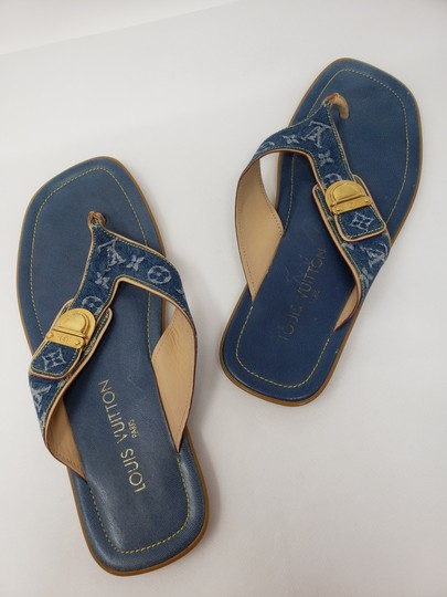 Louis Vuitton Gold Hardware Lv Monogram Idylle Logo Blue Sandals Image 8
