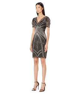 Adrianna Papell Art Deco Beaded Sheath Fringe Gatsby Dress