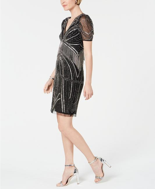 Adrianna Papell Art Deco Beaded Sheath Fringe Gatsby Dress Image 1