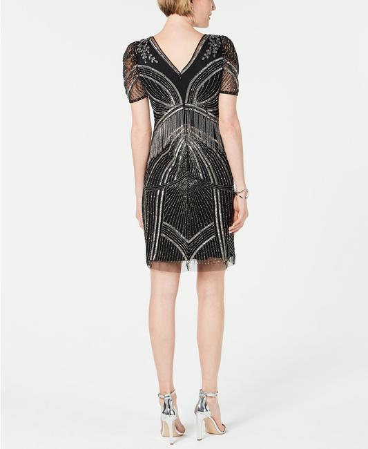 Adrianna Papell Art Deco Beaded Sheath Fringe Gatsby Dress Image 2