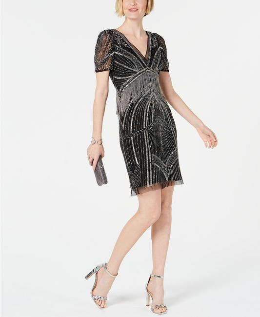 Adrianna Papell Art Deco Beaded Sheath Fringe Gatsby Dress Image 3