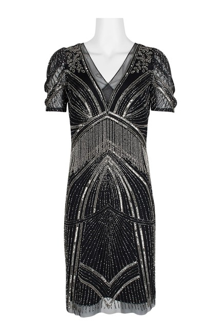 Adrianna Papell Art Deco Beaded Sheath Fringe Gatsby Dress Image 5