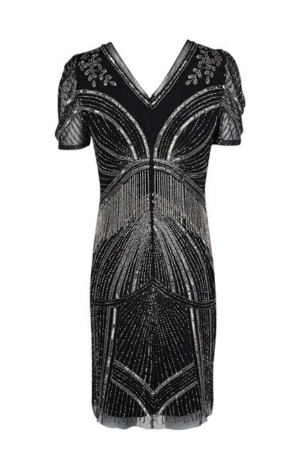 Adrianna Papell Art Deco Beaded Sheath Fringe Gatsby Dress Image 6