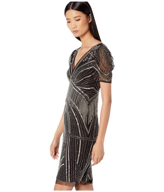 Adrianna Papell Art Deco Beaded Sheath Fringe Gatsby Dress Image 7