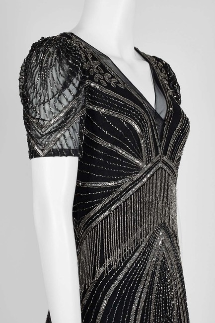 Adrianna Papell Art Deco Beaded Sheath Fringe Gatsby Dress Image 8