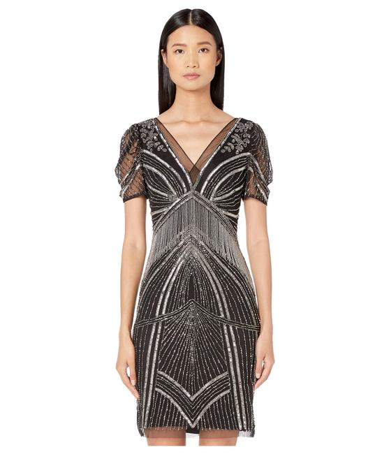 Adrianna Papell Art Deco Beaded Sheath Fringe Gatsby Dress Image 9