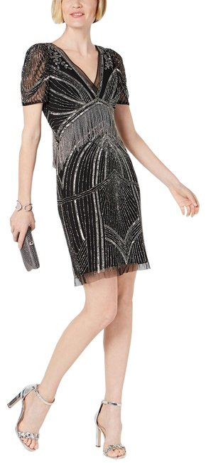 Preload https://img-static.tradesy.com/item/26183525/adrianna-papell-black-mercury-beaded-art-deco-puff-sleeve-sequin-sheath-short-cocktail-dress-size-10-0-1-650-650.jpg