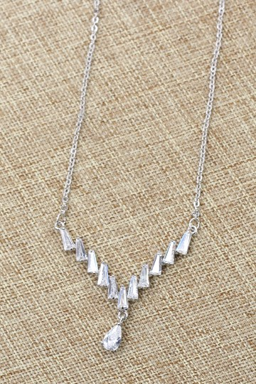 Ocean Fashion Sterling silver delicate pendant crystal necklace Image 3