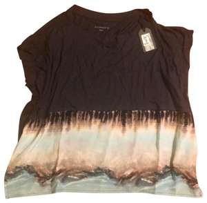 AllSaints Top black with pink and blue