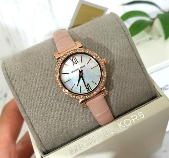 Michael Kors NEW NWT Women's Sofie Rose Gold-Tone and Blush Leather Watch MK2715 Image 2