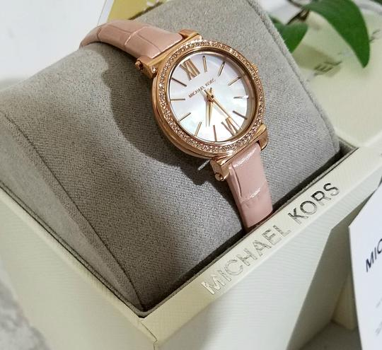 Michael Kors NEW NWT Women's Sofie Rose Gold-Tone and Blush Leather Watch MK2715 Image 3