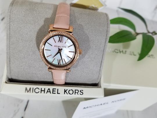 Michael Kors NEW NWT Women's Sofie Rose Gold-Tone and Blush Leather Watch MK2715 Image 5