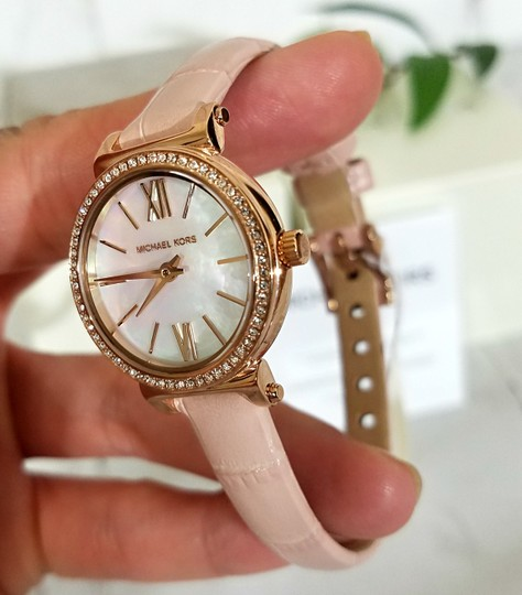 Michael Kors NEW NWT Women's Sofie Rose Gold-Tone and Blush Leather Watch MK2715 Image 6