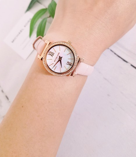 Michael Kors NEW NWT Women's Sofie Rose Gold-Tone and Blush Leather Watch MK2715 Image 7