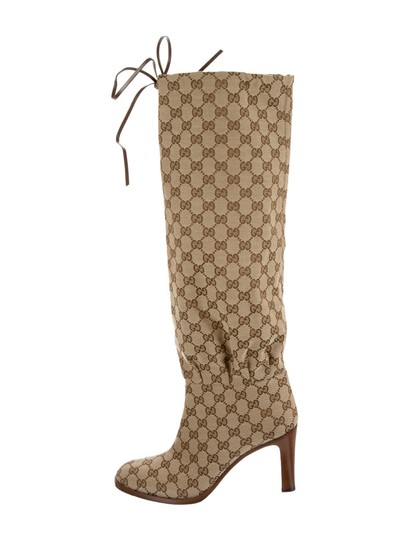 Gucci Over The Knee Supreme Gold Hardware Gg Guccissima Beige Boots Image 2