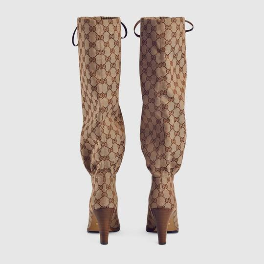 Gucci Over The Knee Supreme Gold Hardware Gg Guccissima Beige Boots Image 3
