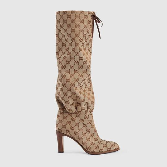 Gucci Over The Knee Supreme Gold Hardware Gg Guccissima Beige Boots Image 4