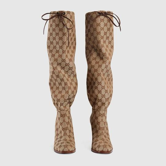 Gucci Over The Knee Supreme Gold Hardware Gg Guccissima Beige Boots Image 5