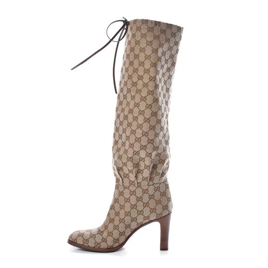 Gucci Over The Knee Supreme Gold Hardware Gg Guccissima Beige Boots Image 6