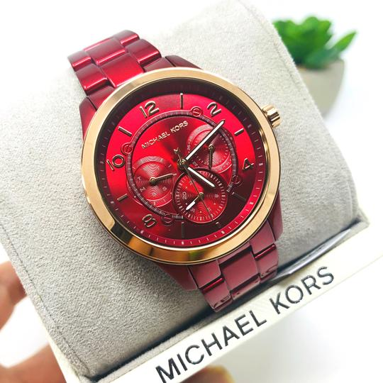 Michael Kors NWT Women's Runway Chronograph Red Coated Stainless Steel Watch MK6594 Image 6