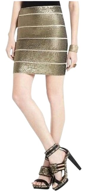 Item - Gold Bcbg Power Sequin Bodycon Bandage Pencil Mini Skirt Size 8 (M, 29, 30)