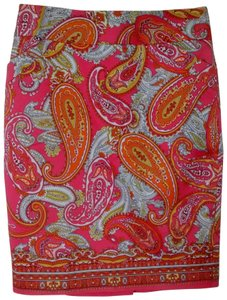Charter Club Fully Lined Paisley Pencil Multi Color Skirt Pink Orange