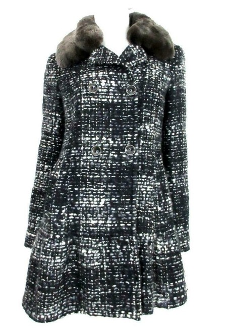 Item - Black and Gray Virgin Wool Blend Tweed with Removable Fur Collar Coat Size 6 (S)
