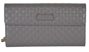 Gucci New Gucci Grey Leather Micro GG Large Bifold Wallet