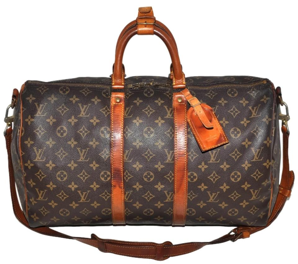 6b9e2a7db3c1 Louis Vuitton Duffle Keepall 45 Bandouliere with Strap Extras Carry On Luggage  Suitcase Purse Brown Leather   Coated Canvas Weekend Travel Bag