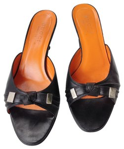 Gucci Leather Silver Hardware Black and Orange Mules