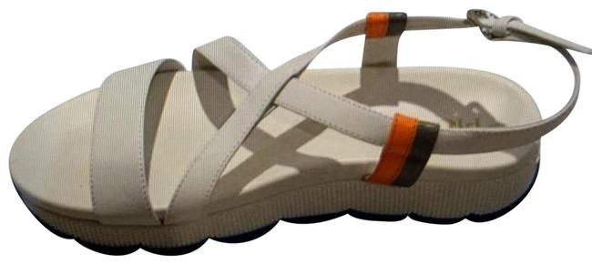 Item - White Grey and Orange Accents Sandals Size US 8.5 Regular (M, B)