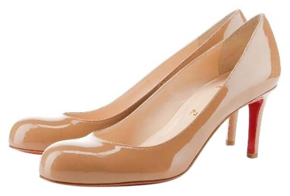 Christian Leather Louboutin Beige Nude Patent Leather Christian Simple 70 Pumps f0667a