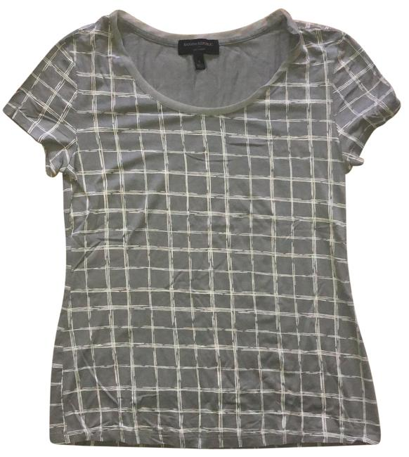 Item - Gray and White Ribbon Neck Stretch Tee Shirt Size 4 (S)