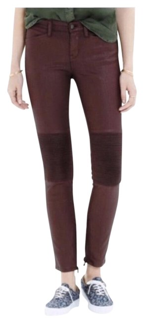 Item - Maroon Coated Waxed Moto Ankle 28 Skinny Jeans Size 6 (S, 28)