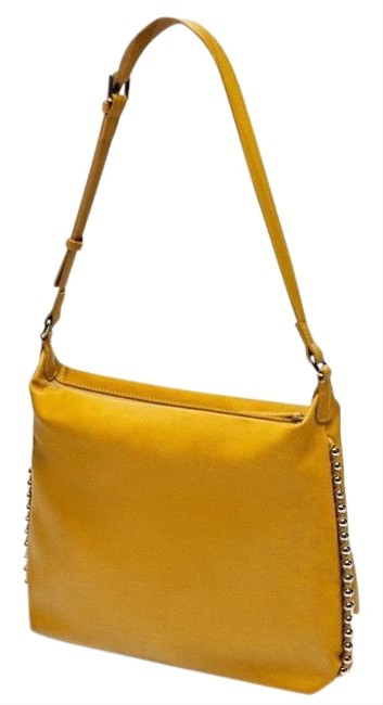Zara Bucket Mustard Studded Shoulder Bag Zara Bucket Mustard Studded Shoulder Bag Image 1