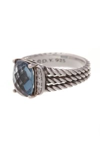 David Yurman David Yurman Diamond & Topaz Petite Wheaton Ring - Silver Size 5.5