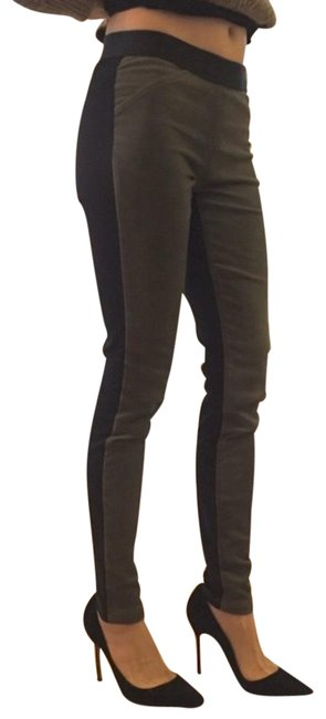 Item - Military Green Lamb Leather Two Tone Leggings Size 6 (S, 28)