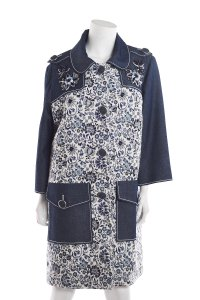 Andrew Gn Floral Print Womens Jean Jacket