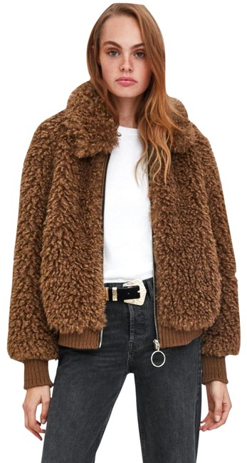 Item - Brown Faux Shearling Bomber Coat Size 2 (XS)