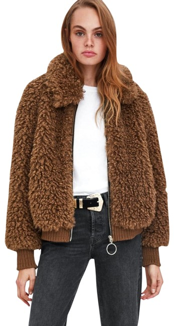 Item - Brown Faux Shearling Bomber Coat Size 4 (S)