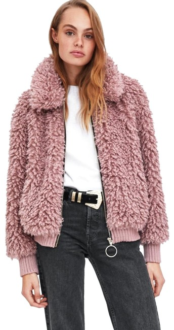 Item - Pink Faux Shearling Bomber Coat Size 8 (M)