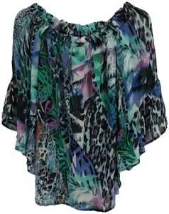 Cupio Animal Print Off The Shoulder Stretchy Elastic Ruffle Top Multi-Color