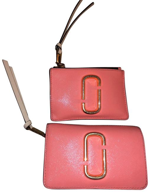 Item - Compact Wallet and Id Wallet Pink/Peach Leather Wristlet