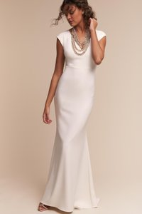 BHLDN Ivory Crepe Sawyer Destination Wedding Dress Size 4 (S)
