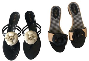 chanel black and white beige. Sandals
