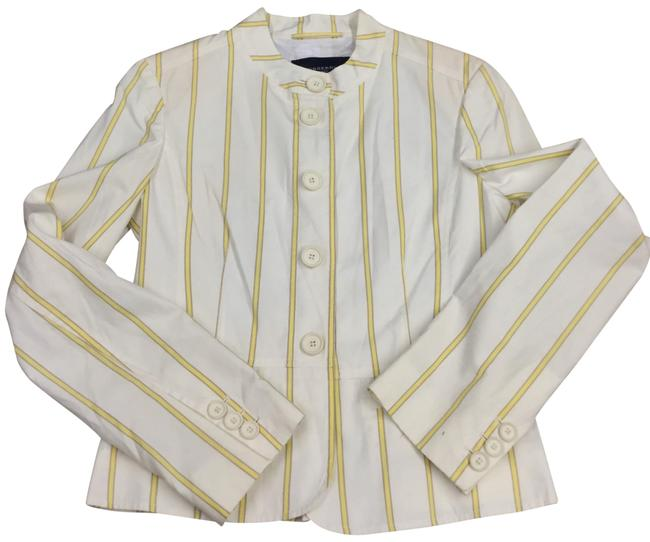 Item - White/Yellow Pleated Button Up Blazer Size 10 (M)