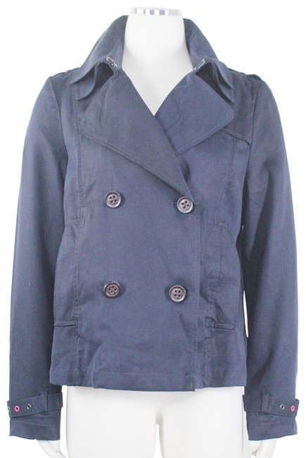 Item - Blue Mono Mac Double Breasted Cropped Trench Style Lightweight Coat Size 12 (L)