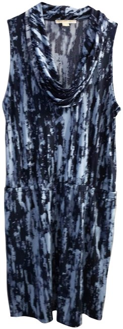 Item - Multi Color Tunic Sleeveless Cowl Neck Drop Waist Marble Print Mid-length Short Casual Dress Size 2 (XS)